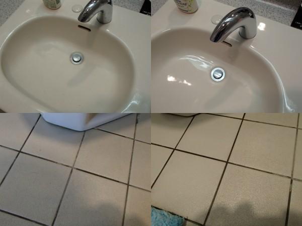 手洗いボウルと床のお掃除