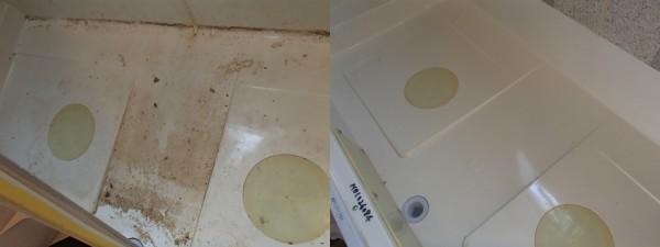 浴槽下も手作業で洗えます