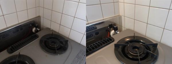 キッチン壁面とガスレンジ