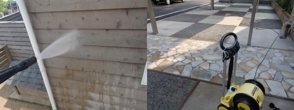 板壁とガレージ床の高圧洗浄