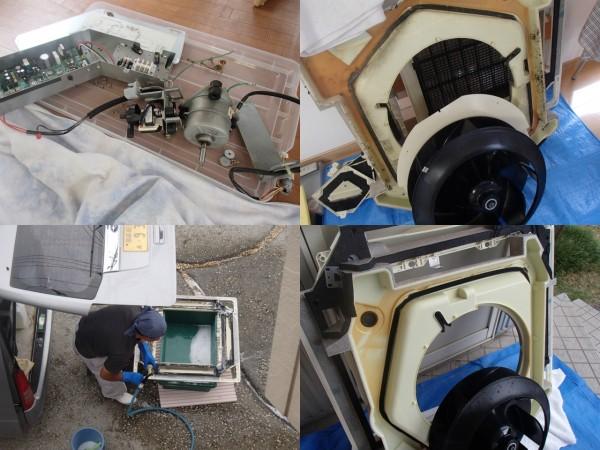 天井埋め込み型エアコンの部品を外で洗う