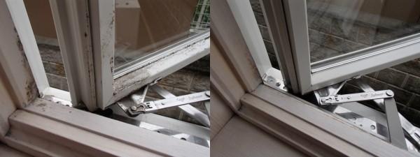 窓枠のカビをピアで洗う