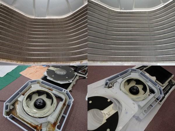 天井埋め込み型エアコンの熱交換器,外したパーツのクリーニング前後