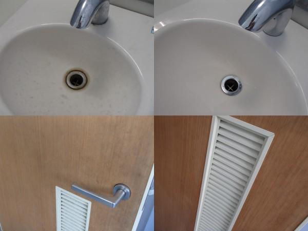 トイレの手洗いボウルとドアをクリーニング