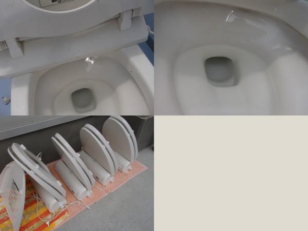 便座を洗い,陶器を磨く