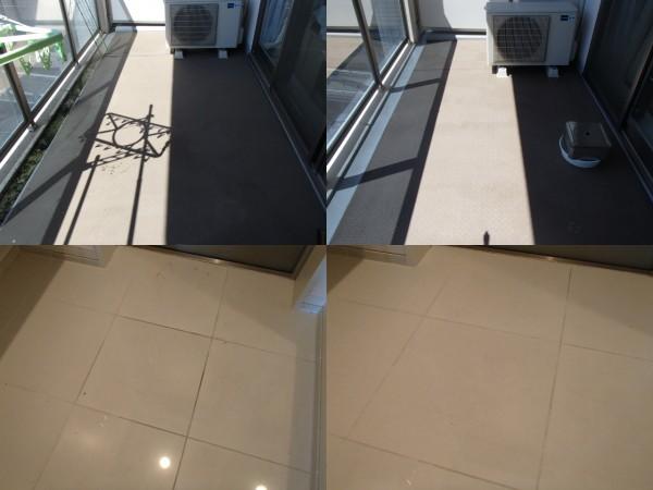 ベランダ床と玄関床を洗う