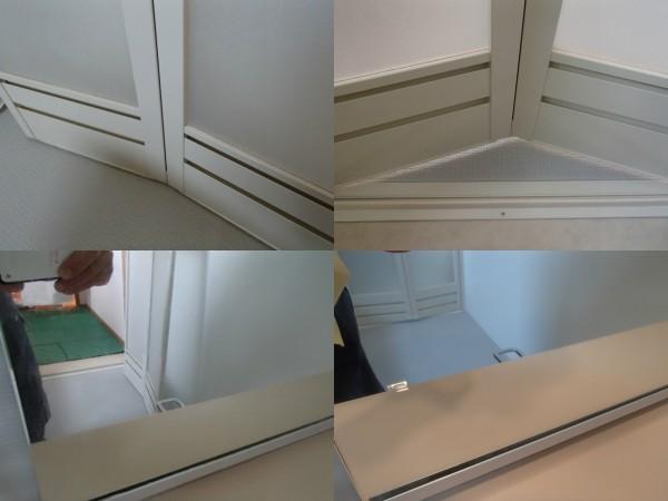 中おれ扉の下部と鏡