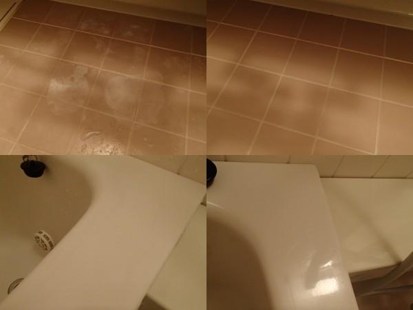 浴室床,浴槽ヘリのクリーニング