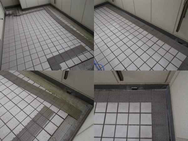 バルコニータイルの高圧洗浄