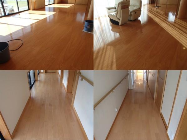 リビング30畳の床洗浄とワックス塗り