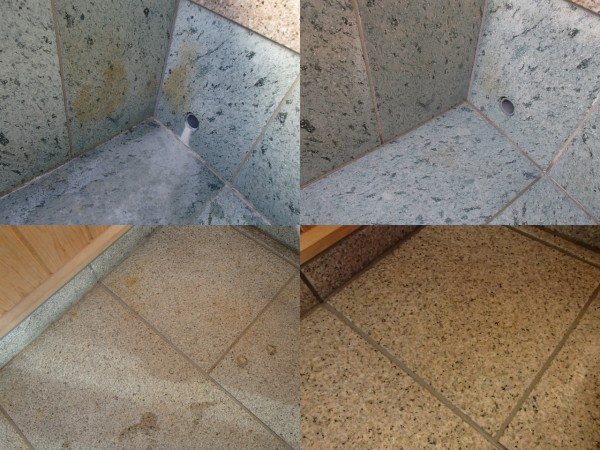 石材の錆やエフロを除去