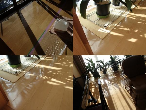 フローリング床,部分的にワックスを塗る