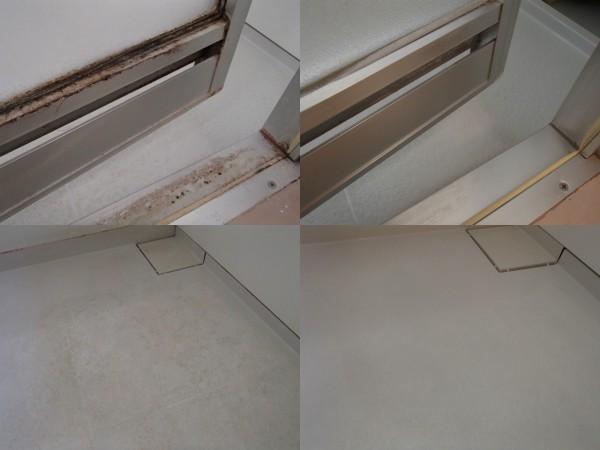 浴室ドアの水あか,床の汚れを落とす