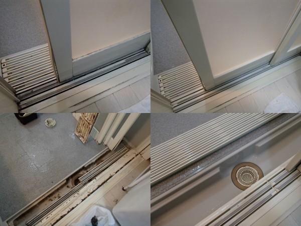 浴室ドアのレールのクリーニング