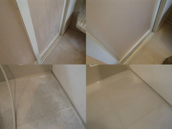 浴室扉と床の石鹸カスを除去