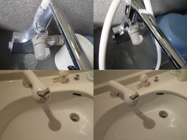 水栓金具と洗面ボウルを磨く
