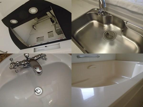 クリーニング後の写真。レンジフード,シンク,洗面台,浴槽