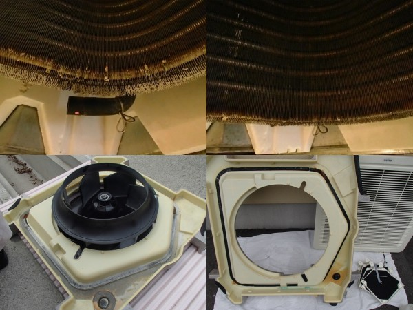 天井埋め込み型エアコンの熱交換器の洗浄,外したパーツの洗浄