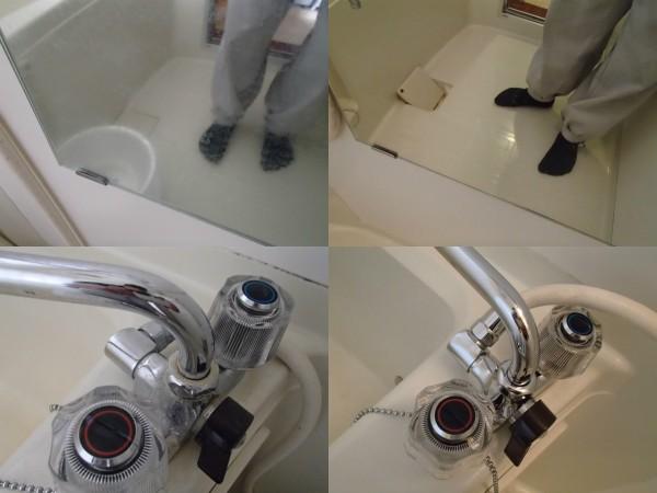 鏡と浴室混合栓を磨く