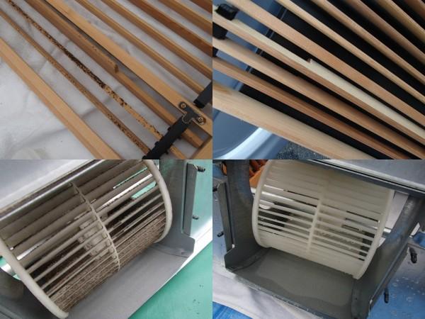 1階の壁埋めエアコン ファンや格子の洗浄前後