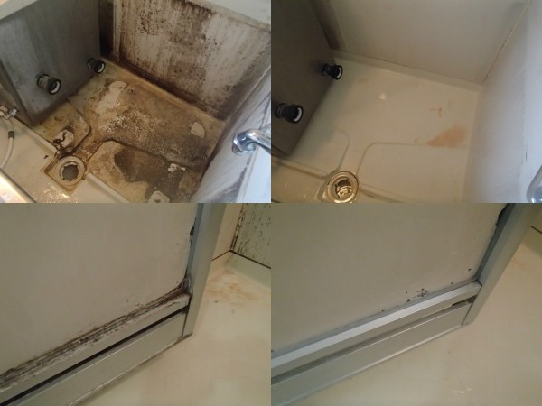 浴槽を外して浴槽下を洗う
