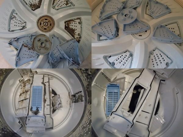 洗濯機内のパーツが重なり合う部分は汚れます