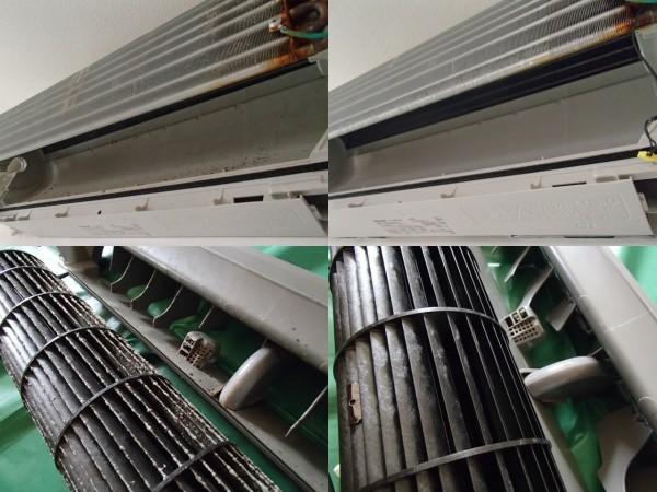 ナショナルフィルターお掃除機能付きエアコンの分解クリーニング
