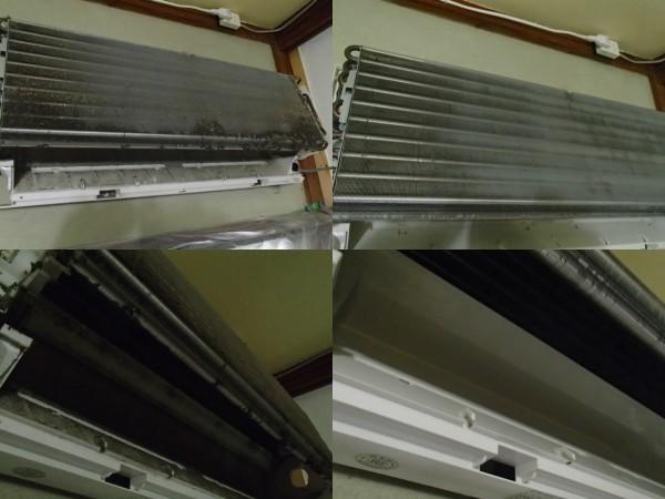 コロナのエアコン,熱交換器の洗浄前後