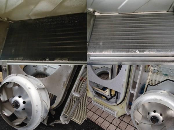 出入り口のエアコンを洗う