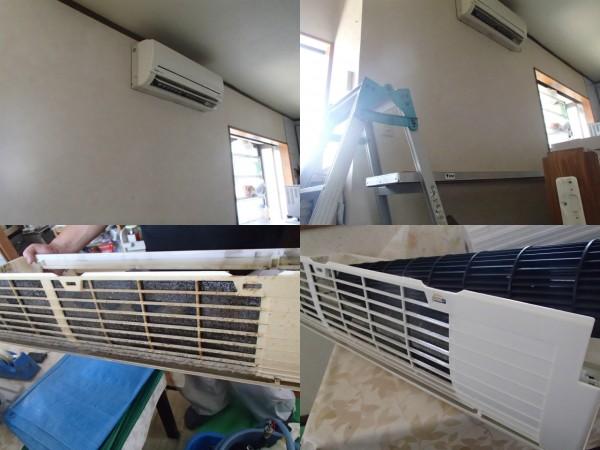 階段の上に設置されたエアコンを洗う