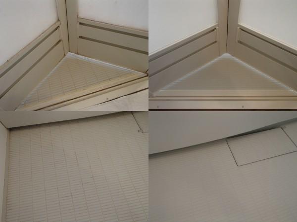 浴室ドアや床の汚れを落とす