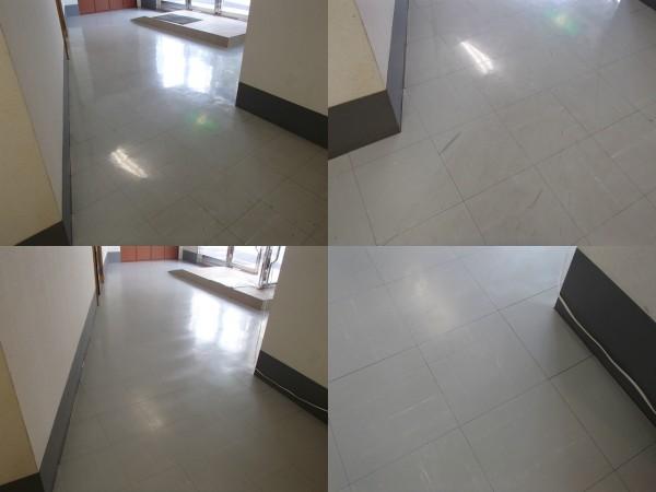 Pタイル床の洗浄とワックスがけ