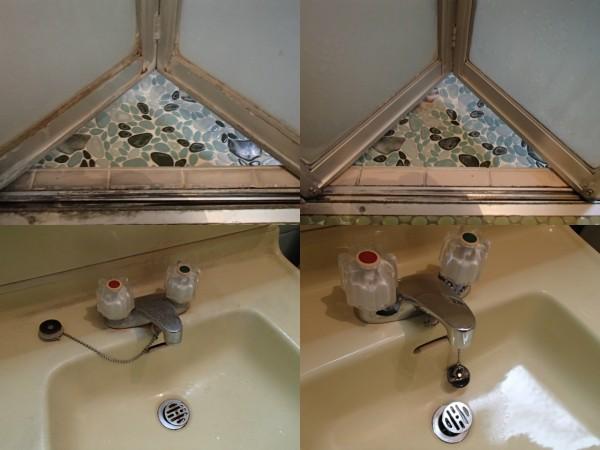 浴室ドアと洗面台