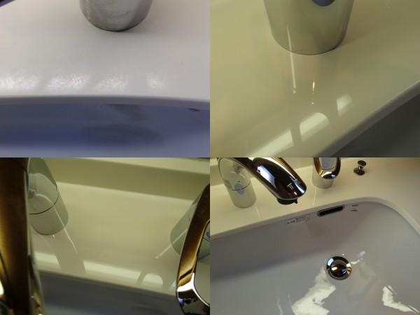 人工大理石とホーローボウルの洗面台を磨く