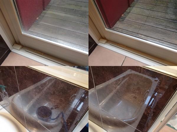 ガラス面や光沢タイルの硬い水あかを磨き落とす