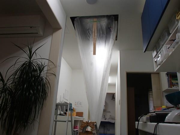 天井埋めエアコンクリーニングの養生