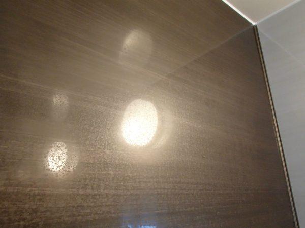浴室壁面の光沢パネル